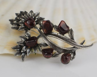Silver Plated Dark Patina Flower and Leaf Brooch with Red Natural Shaped Chip Details