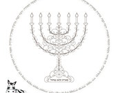 Gold Menorah-Jewish Printable-Menorah Craft-Menorah Prayer-Star Of David-Jewish Art projects-7 Branch Menorah-INSTANT DOWNLOAD-Coloring Page