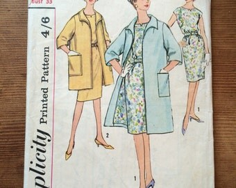 Simplicity Printed Pattern 4856 Half Size bust 33 coat and dress vintage 1960s