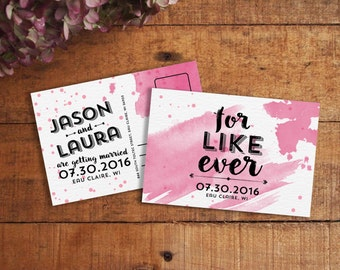 Save the Date Postcard, Watercolor Save the Date, Funny Save the Date, For Like Ever, Modern Save the Date, Printable Save the Date