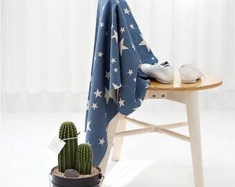 "Stars Blue Cotton Linen - 57"" Wide - Linen Blend Fabric - By the Yard 87017"