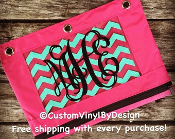 Personalized Pencil Pouch, Personalized Pencil Case, Pencil Bag, Pencil Pouch Binder, Monogrammed 3 Ring Binder Bags, School Pencil Bags