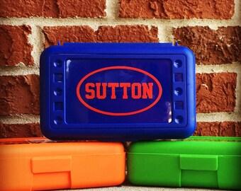 Personalized Pencil Box, Plastic Pencil Box, Personalized School Supplies, Personalized Crayon Box, Personalized School Box, Art Supply Box