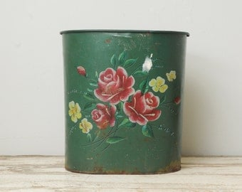 Handpainted Green Metal Waste Can Red Pink Roses