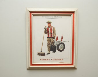 1960s Street Sweeper Print Standard Printing Company Framed