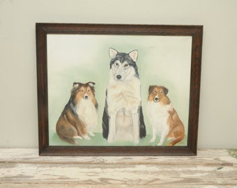 Husky Shelties Dog Original Painting Signed