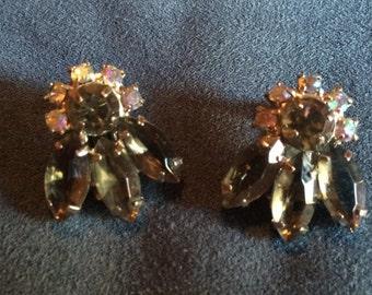 Vintage Irridescent Blue & Green  Rhinestone Clip Earrings