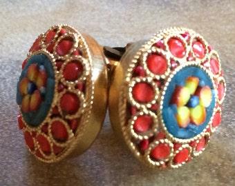 Vintage Italian Micro Mosaic Clip Earrings
