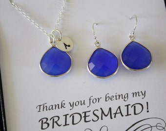 Monogram Bridesmaid Necklace and Earring set Blue, Bridesmaid Gift, Dark Blue Gemstone, Sterling Silver, Initial Jewelry, Personalized