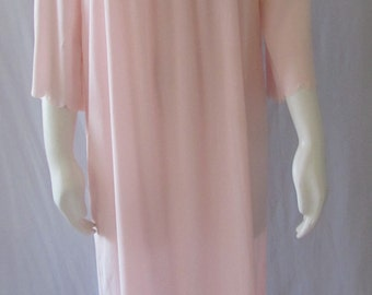 Vintage 1950s LINGERIE Nightgown Soft Peach Long Hollywood Chic Movie Star Style