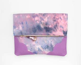 Dyed cotton clutch bag. Fold over clutch. Leather handbag. Statement purse. Hand colored. Natural leather. Purple handbag. /DELIGHT 23