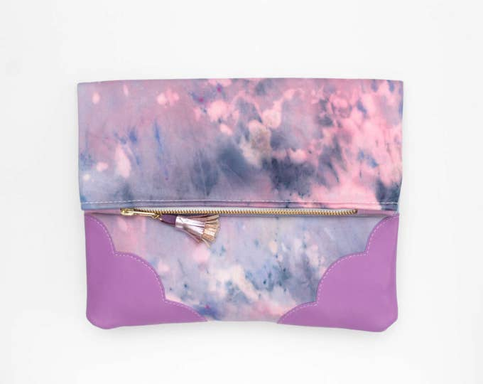 DELIGHT 23 / Leather folded clutch purse-leather bag-dyed cotton bag-fabric fold over purse-violet blue navy-handcolored bag- Ready to Ship