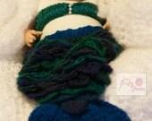 Crochet Baby Girls Mermaid Tail Set Photo Prop size Newborn to up to 1mth