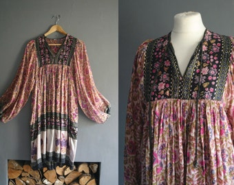 70s Indian Silk Gauze Dress