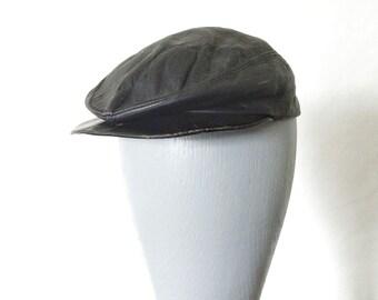 News Boy Hat - Vintage Child Black Leather Hat