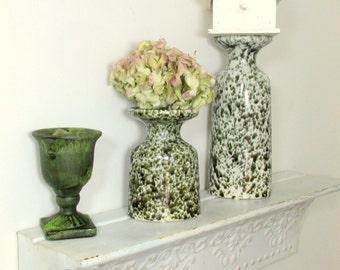 Vintage Pair of Green Speckled Ceramic Candle Holders Elliptical Shape