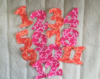 Monthly Iron On Numbers for Baby Bodysuits, Months 1 - 12, Baby Girl, Orange and Pink Coral Fabric