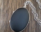 Exquisite Extra Large Antique  Sterling Silver Black Matte Enamel Locket Necklace