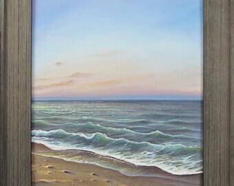 Original 16x20 Ocean Beach Seascape Painting on Canvas by J. Mandrick