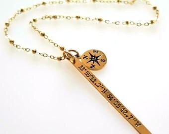 Anniversary Gift Coordinates Wedding Anniversary Gifts, Custom Coordinates Necklace, Wedding Anniversary Necklace Destination Wedding