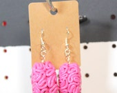 bubblegum pink brain earrings - polymer clay, brain earrings, drop earrings, brains, pink brains, pink earrings, polymer clay earrings