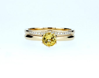 engagement ring set, citrine ring, engagement ring, wedding band, diamond ring, yellow, diamond engagement, crown setting, citrine solitaire