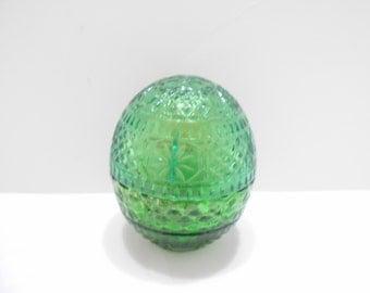 Vintage 1970s Avon Forest Green Glass Egg (14) Sweet Honesty Cream Sachet