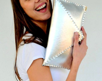 Leather silver clutch / Handmade leather bag / Italian genuine leather / Envelope clutch