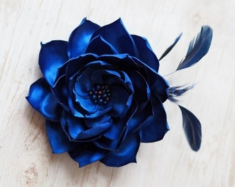 Wedding Mother Gift, Blue Hair Flower, Blue Fabric Flower, Bridesmaid Flower Hair Clip, Blue Feather Headpiece