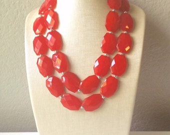 Cherry Red Necklace - Double strand bright red jewelry - big beaded chunky  statement necklace