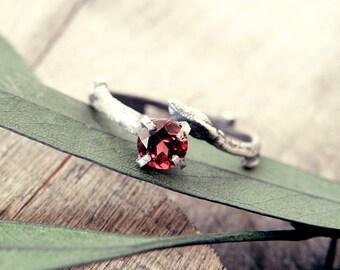Garnet ring, Twig ring, twig engagement ring, topaz twig ring, elf ring, elvish ring, promise ring, silver twig ring, tree branch ring