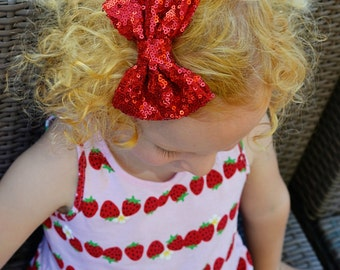 Red Sequins Bow Hair Clip. Red Bow Headband. Christmas Red Bow Headband. Newborn Headband. Womens Hair Clip.