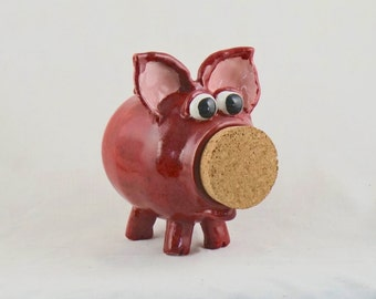 Handmade  Stoneware Pottery Piggy Bank, Ceramic Piggy Bank, Red Piggy Bank, Piggy Bank with Removable Cork, Children's Gifts, Pottery Gifts