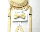 Seersucker Suspender and Bow Tie Set, Yellow, Navy, Red, Khaki Boys Bowtie, Boys Suspenders, Toddler Bowtie, Ring Bearer