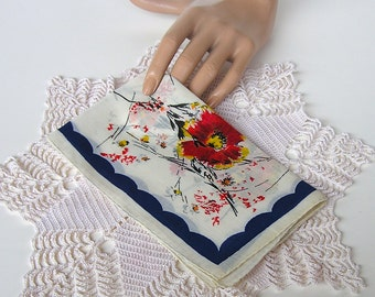 Vintage Flower Hanky, Floral Handkerchief, Unused with Original Stickers, Hand Rolled Hem, Made in Spain, Egyptian Cotton, The Broadway
