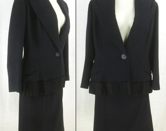 Chic Vtg 50s - 60s ~LILLI ANN~ wool Navy 2 Pc Wool cocktail dress Suit  XS