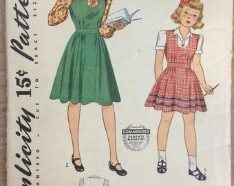 Vintage 1930's Girl's Dress Sewing Pattern Simplicity 4041