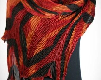 Silk Pleated Shibori Wrap Red and Black Silk Scarf Shawl Wrap