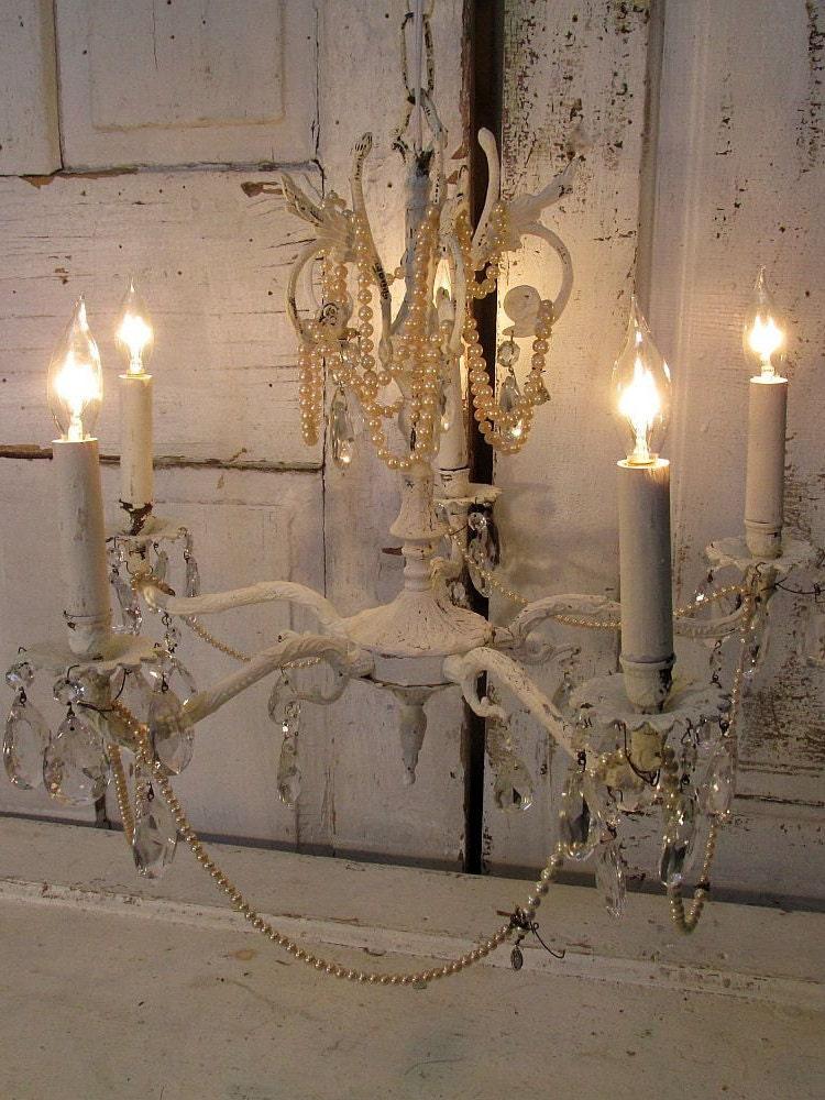 vintage crystal chandelier lighting fixture shabby cottage. Black Bedroom Furniture Sets. Home Design Ideas
