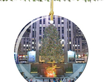 "Rockefeller Center Christmas Ornament Porcelain 2.75"" Christmas Decoration, Double Sided"