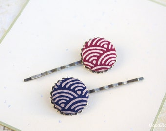 Hair pin for girls, japan bobby pins, sea hair pins, waves hair jewelry, ocean, hokusai, japanese fabric barrette, great wave kanawaga