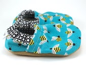 bumblebee shoes, baby bee booties, blue and yellow, baby boy shoes, baby girl shoes, soft sole shoes, vegan baby booties, shoes with bees