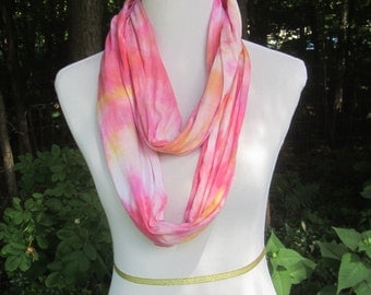Hand dyed orange and pink infinity jersey knit cotton scarf