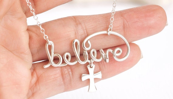 Believe Necklace, Believe Jewelry, Inspirational Necklace, Silver Believe Charm, Inspirational Gift, Word Necklace, Personalized Necklace