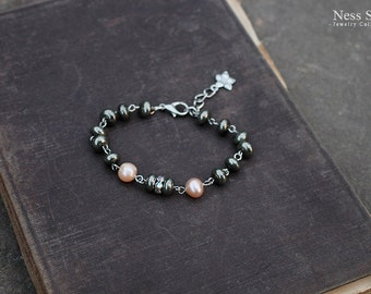 Bohemian jewelry Boho beaded bracelet Pearl and pyrite bracelet Boho chic jewelry by Ness Solo