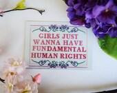 "Postcard Print ""Girls Just Wanna Have Fundamental Human Rights"" Feminist Cross Stitch Sampler. Feminism Art Print."