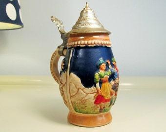 Vintage German Beer Stein, DBGM,  Hand Painted, Vintage Ceramic, Small German Beer Stein Mug, Pewter Lid DBGM, Hand Painted, W. Germany, 60s
