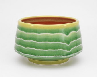 Green, red and chartreuse medium serving bowl with white stripes. pottery. ceramic. serving dish. rice bowl. candy dish