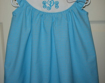 Custom baby/toddler girls personalized monogrammed 3 initial turquoise gingham round yoke gingham float dress with flutter sleeves