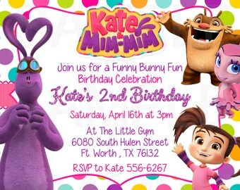 Kate & Mim Mim Birthday Party Invitation- Printable File